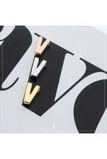 Imotionals Hanger Letter V zilver goudkleurig