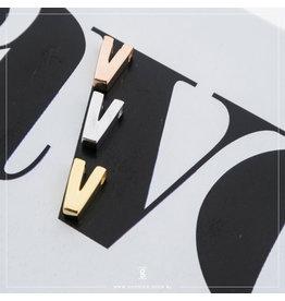 Imotionals Hanger Letter V zilver roos
