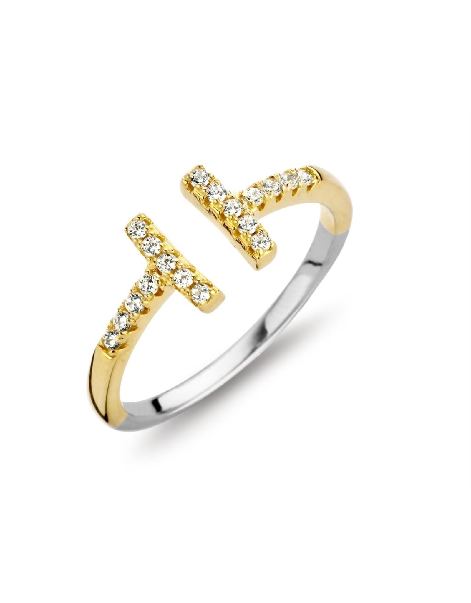 Silver Rose Ring Silver Rose R6379G-54 Zilver goudkleurig