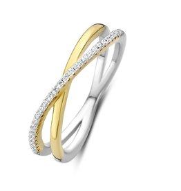 Silver Rose Ring Silver Rose Zilver goudkleurig R2046G-54