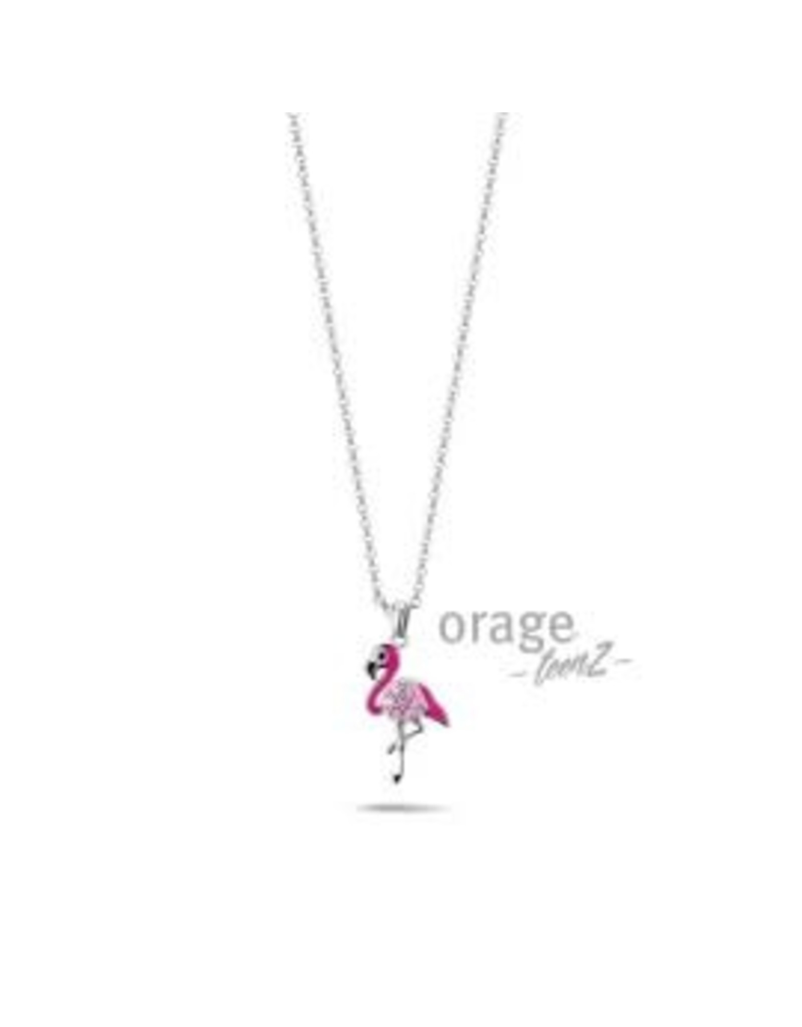 Orage Teenz Halsketting Orage Teenz Zilver Flamingo roze T232