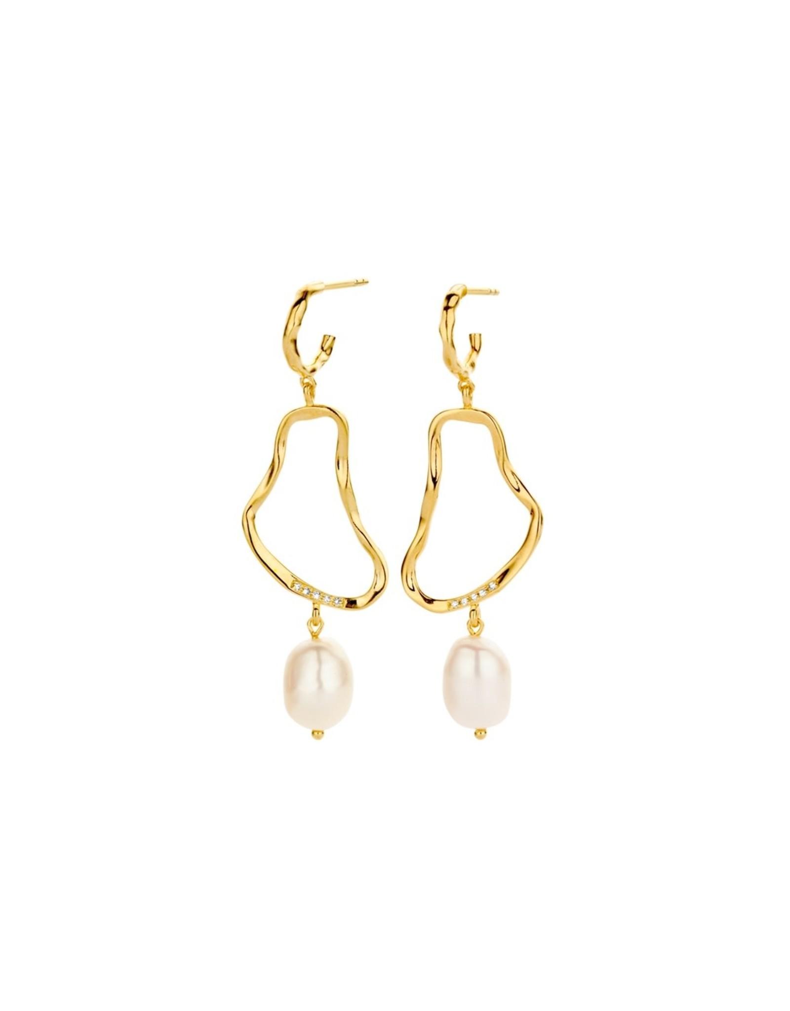 Diamanti Per Tutti Ava Earrings - Zilver Goudkleurig Parel Briljant
