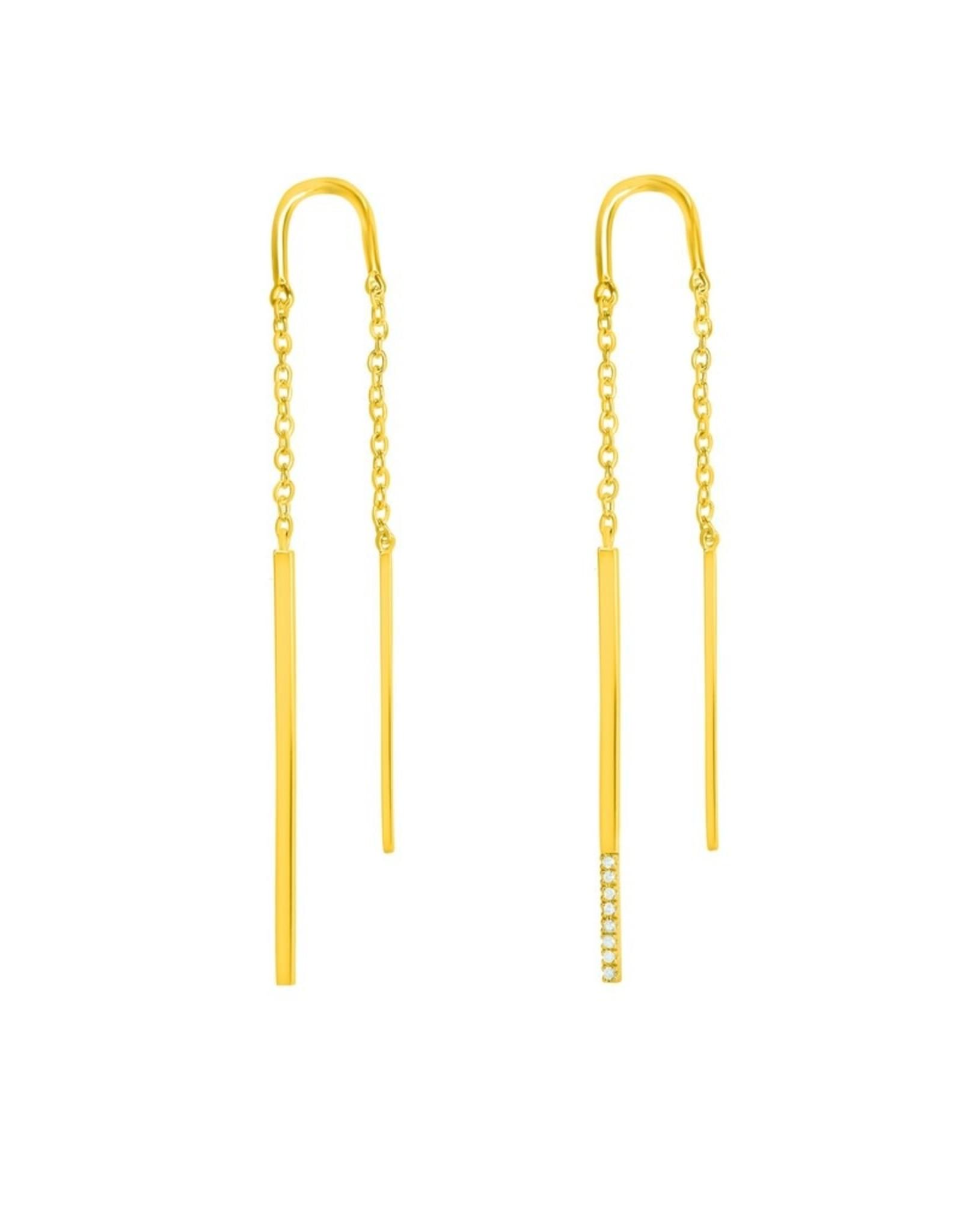 Diamanti Per Tutti Double Linea Earring - Zilver Goudkleurig