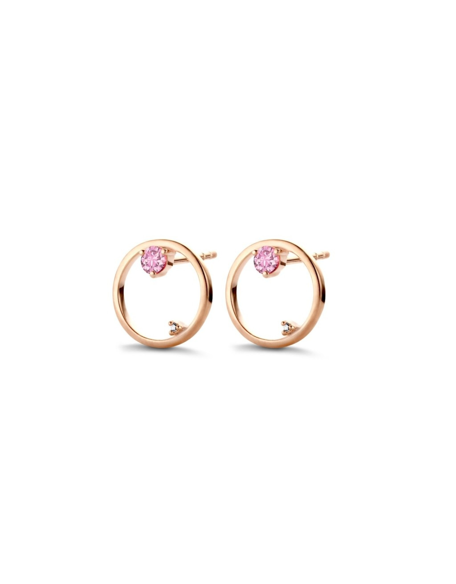 Diamanti Per Tutti Gravity Earrings - Zilver Rosé Briljant Licht Roze Saffier