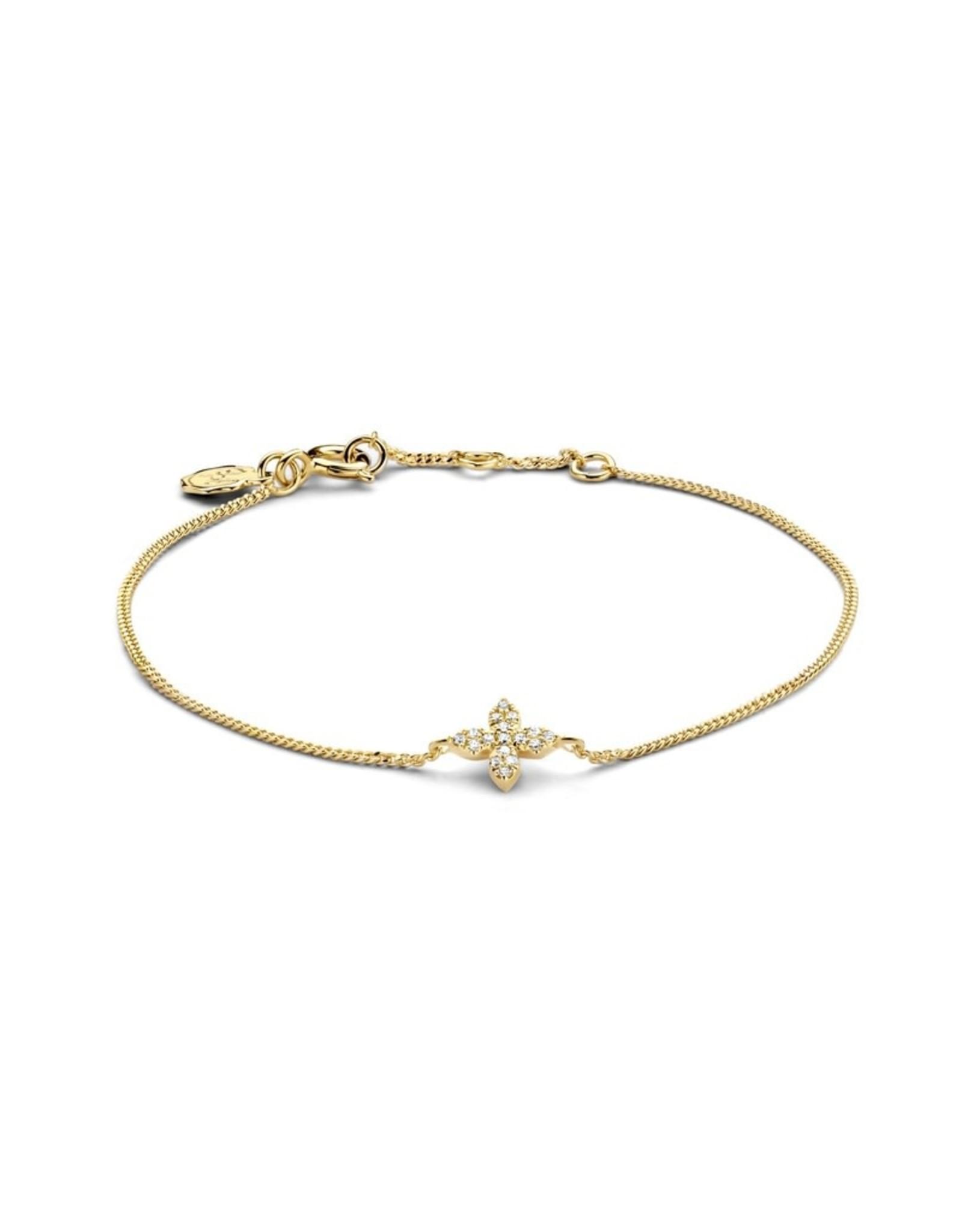 Diamanti Per Tutti Little Flower Bracelet - Zilver Goudkleurig Briljant- 16 cm