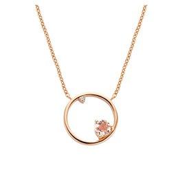 Diamanti Per Tutti Magnetism Necklace - Zilver Rosé Briljant Roze Saffier - 40 cm