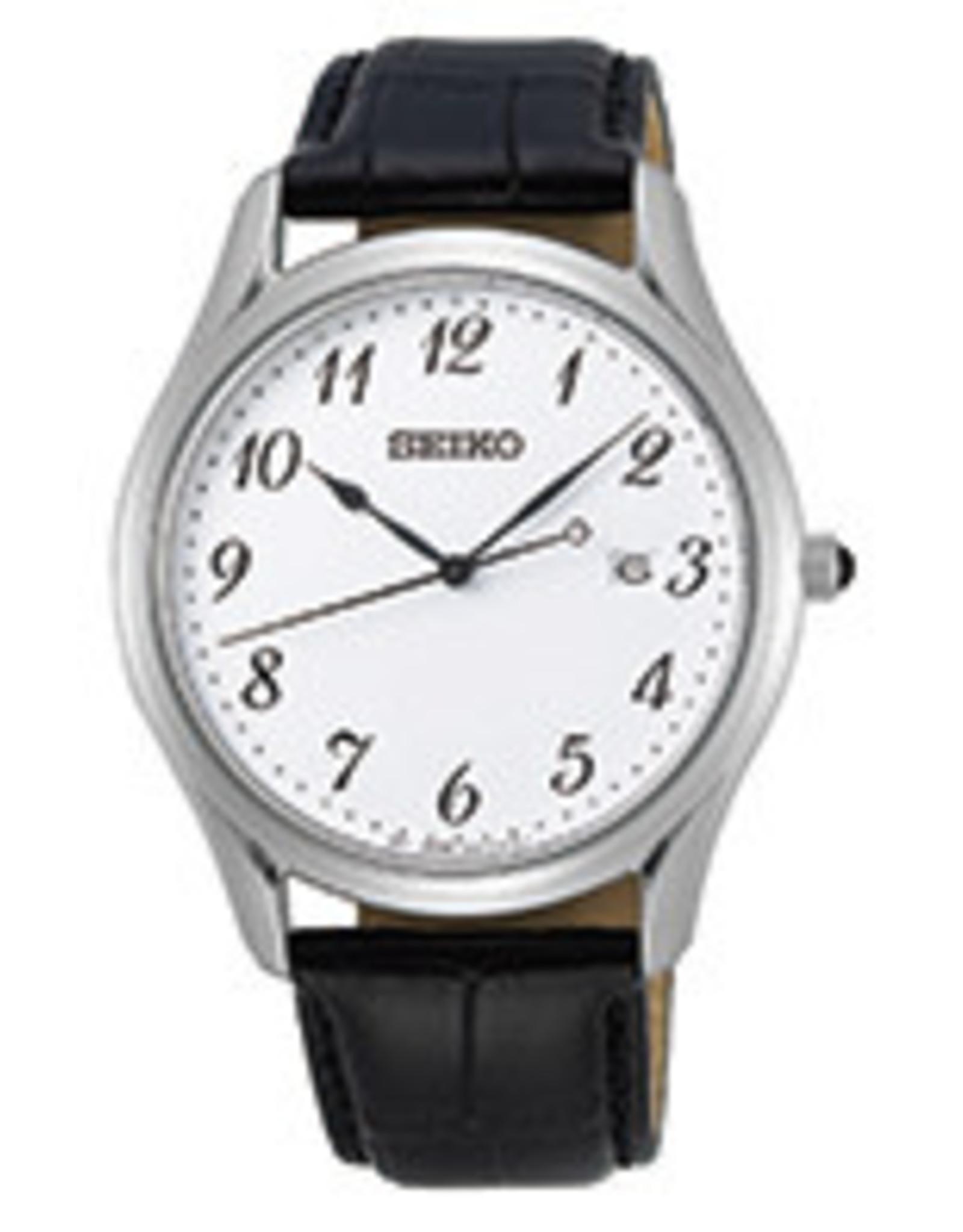 Seiko Seiko Heren Zwart Leer SUR303P1