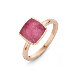 One More One More 051576/NR Pantelleria ring in 18 Kt rosé goud gezet met bergkristal op robijn