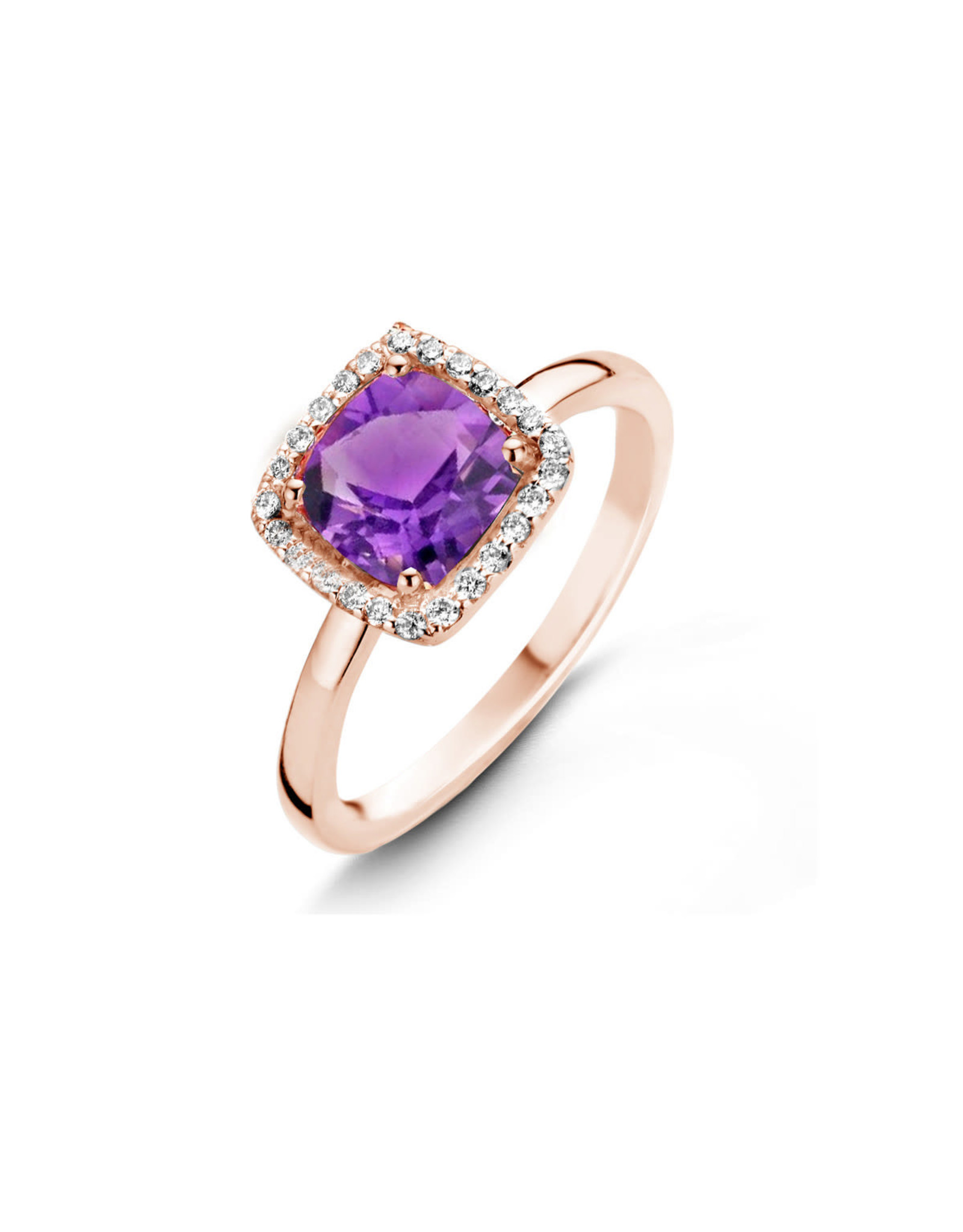 One More Etna ring in 18 Kt rosé goud met amethyst en diamantenRing Roos Goud 18kt 50611/BA