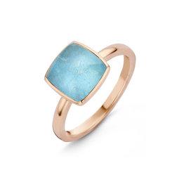 One More One More Pantelleria ring  051576/Y2 in 18 Kt rosé goud gezet met bergkristal op amazoniet