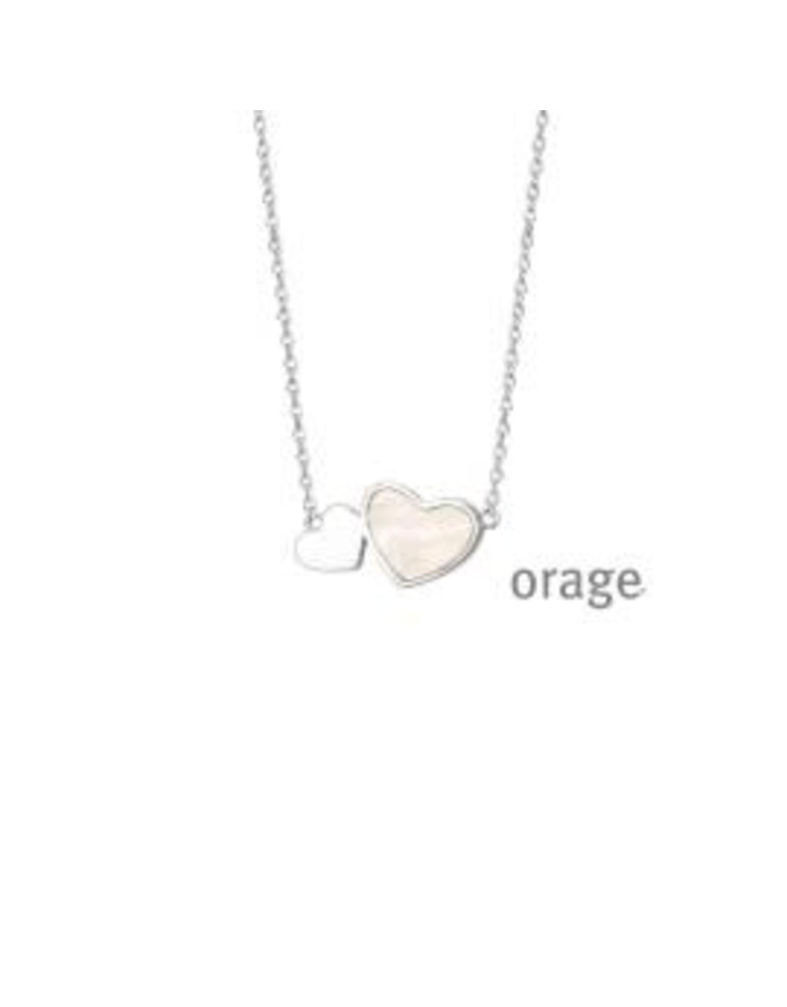 Orage Halsketting Orage V1148 Zilver Dubbel Hart