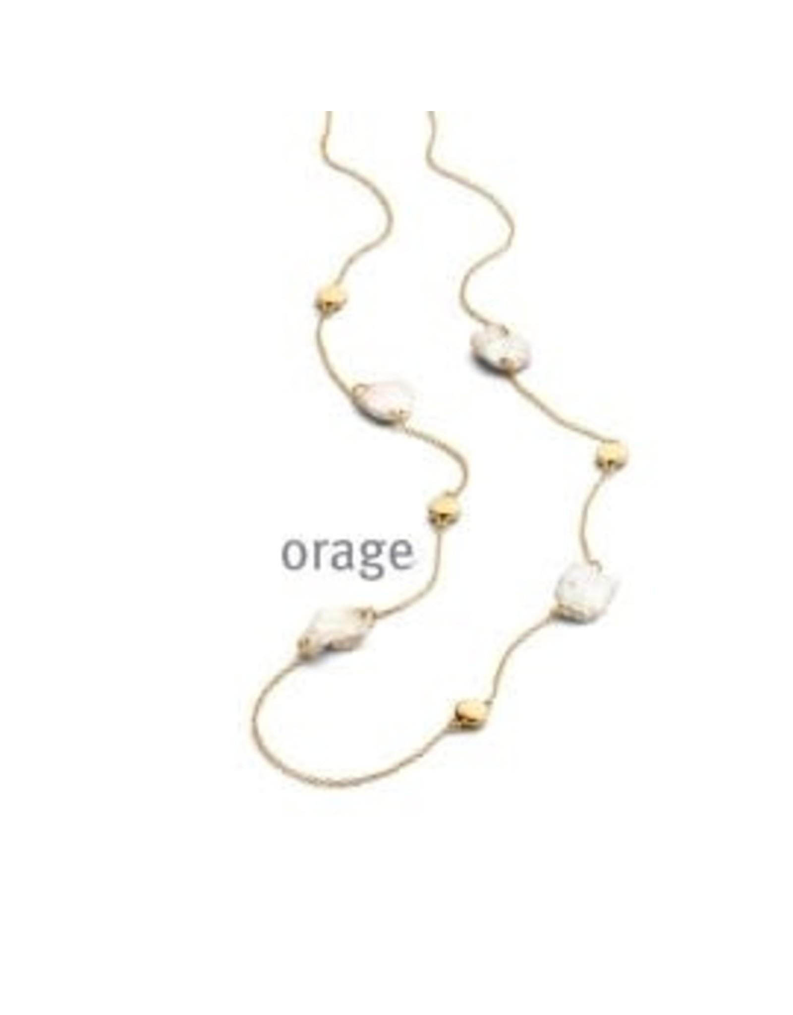 Orage Halsketting Orage AR051 Parel Zilver Verguld