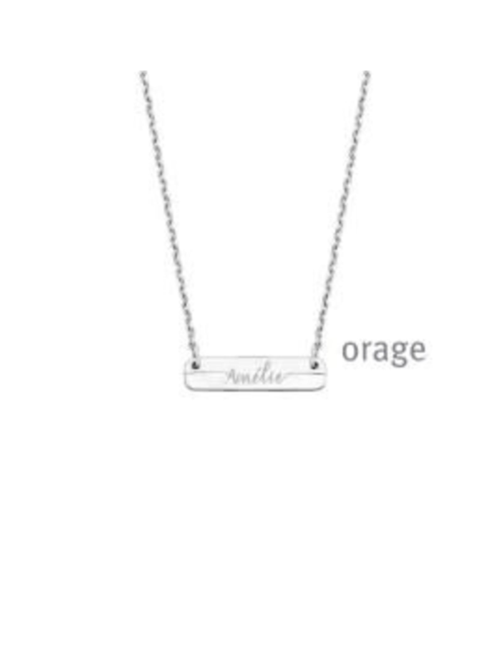 Orage Halsketting Orage AR205 Zilver Plaatje rechthoek met gravure