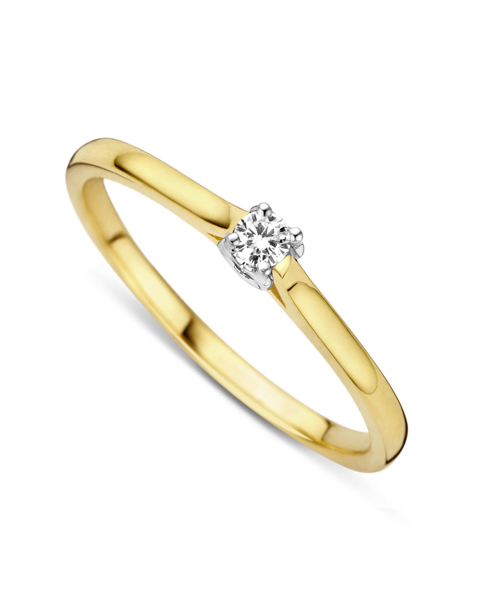 Dulci Nea Ring solitair bicolor 0.08ct maat 52 sol nr2