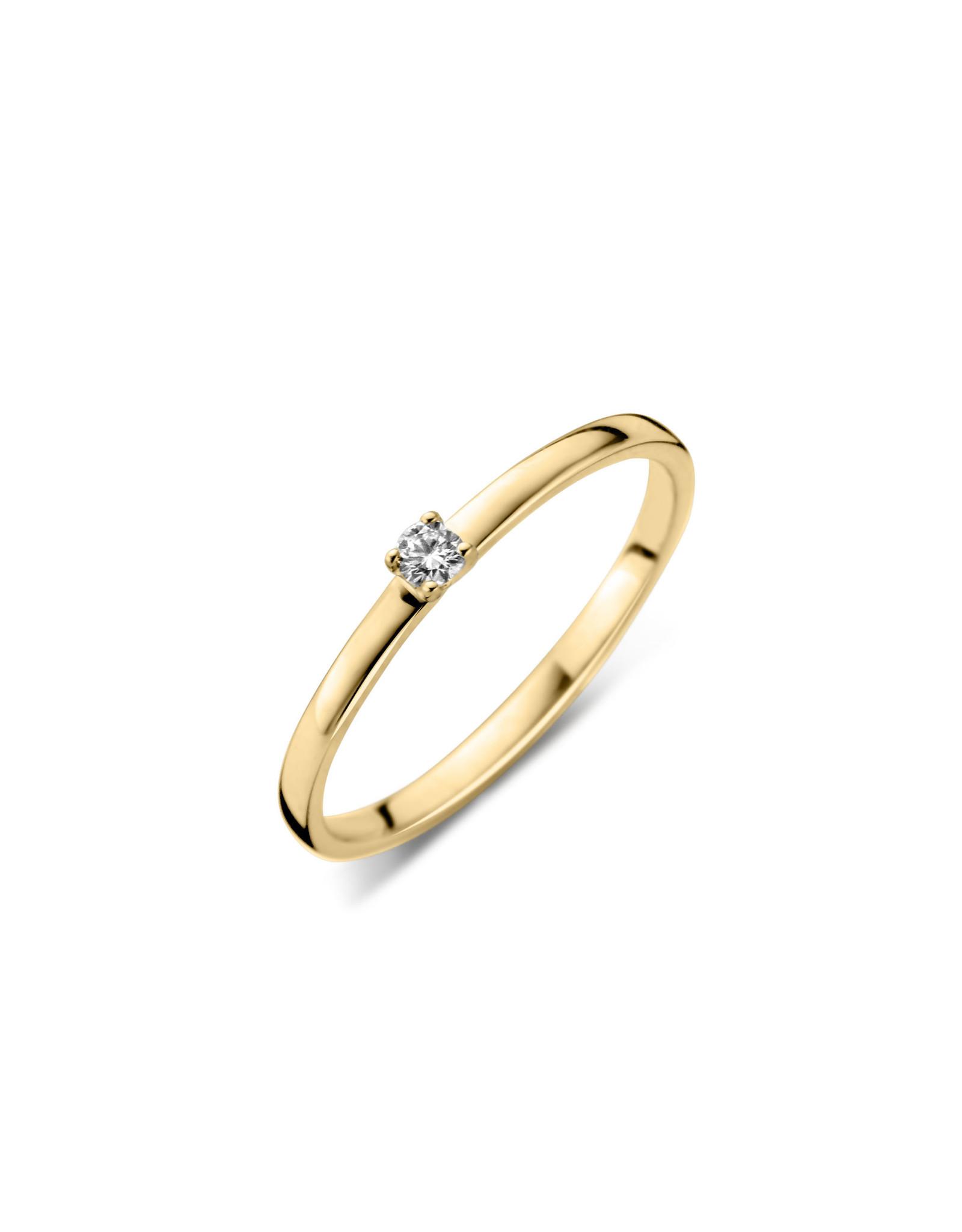 Dulci Nea Ring geel goud solitair 0.08ct maat 52 sol nr438