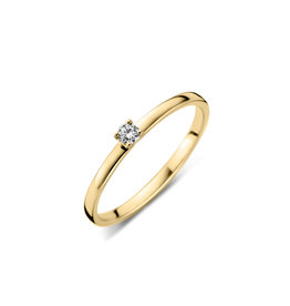 Dulci Nea Ring geel goud solitair 0.11ct maat 53 sol nr439
