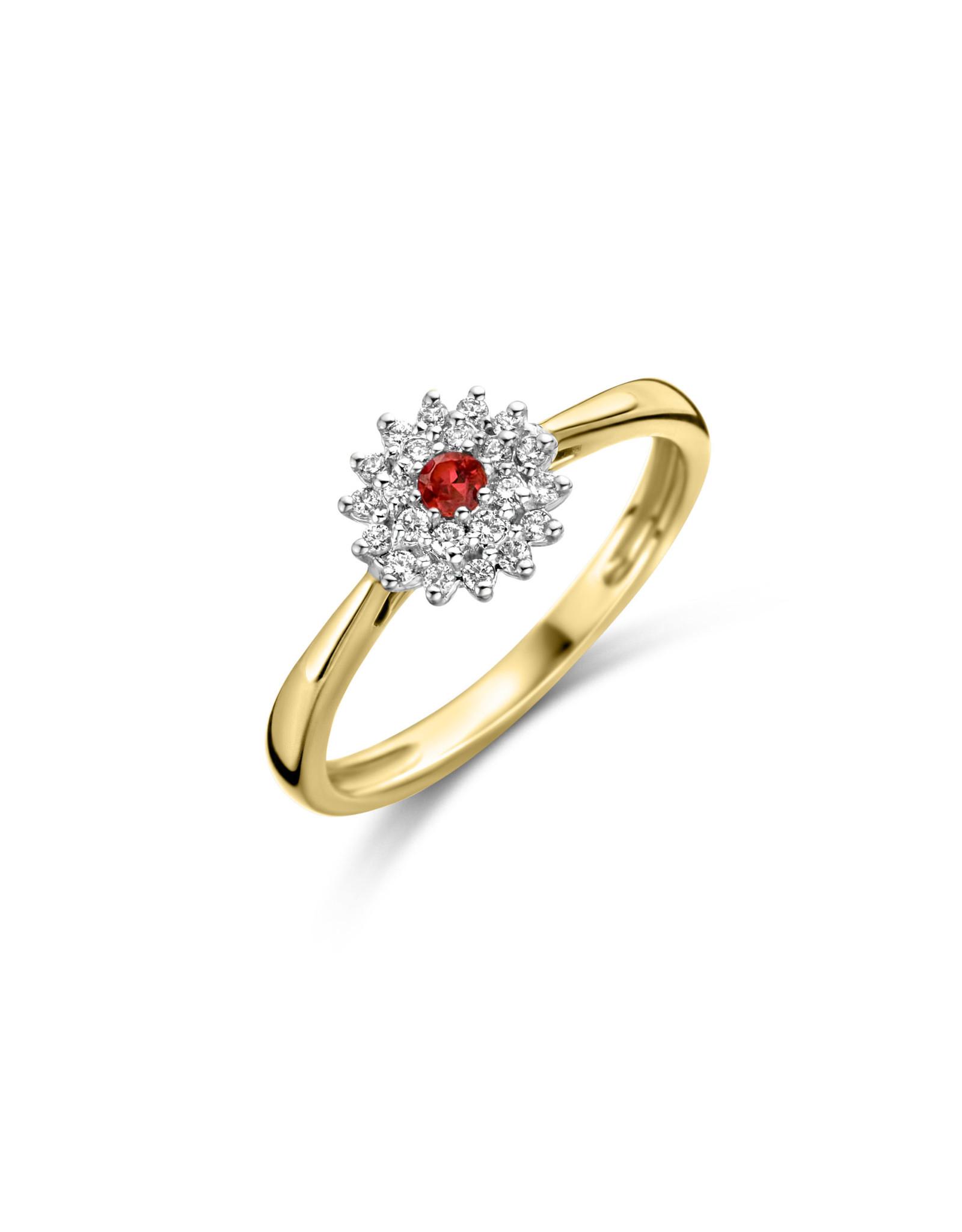 Dulci Nea Ring geel goud bril  0.13ct. robijn  maat 55 DN88