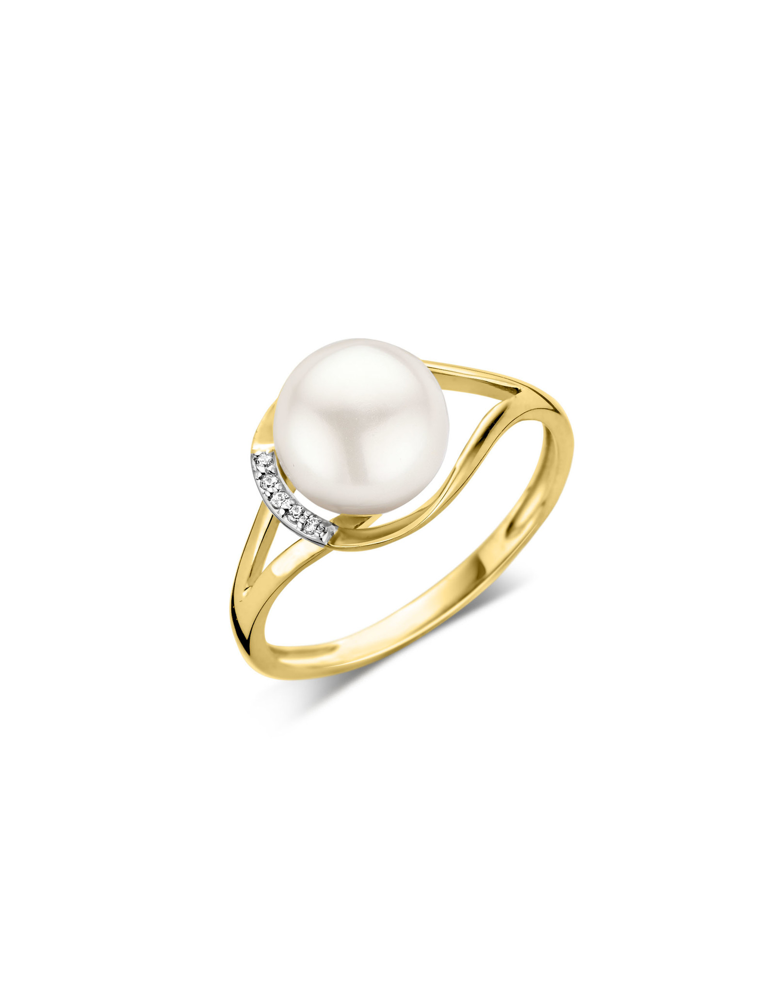 Dulci Nea Ring geel goud parel 0.02ct maat 56 DN121