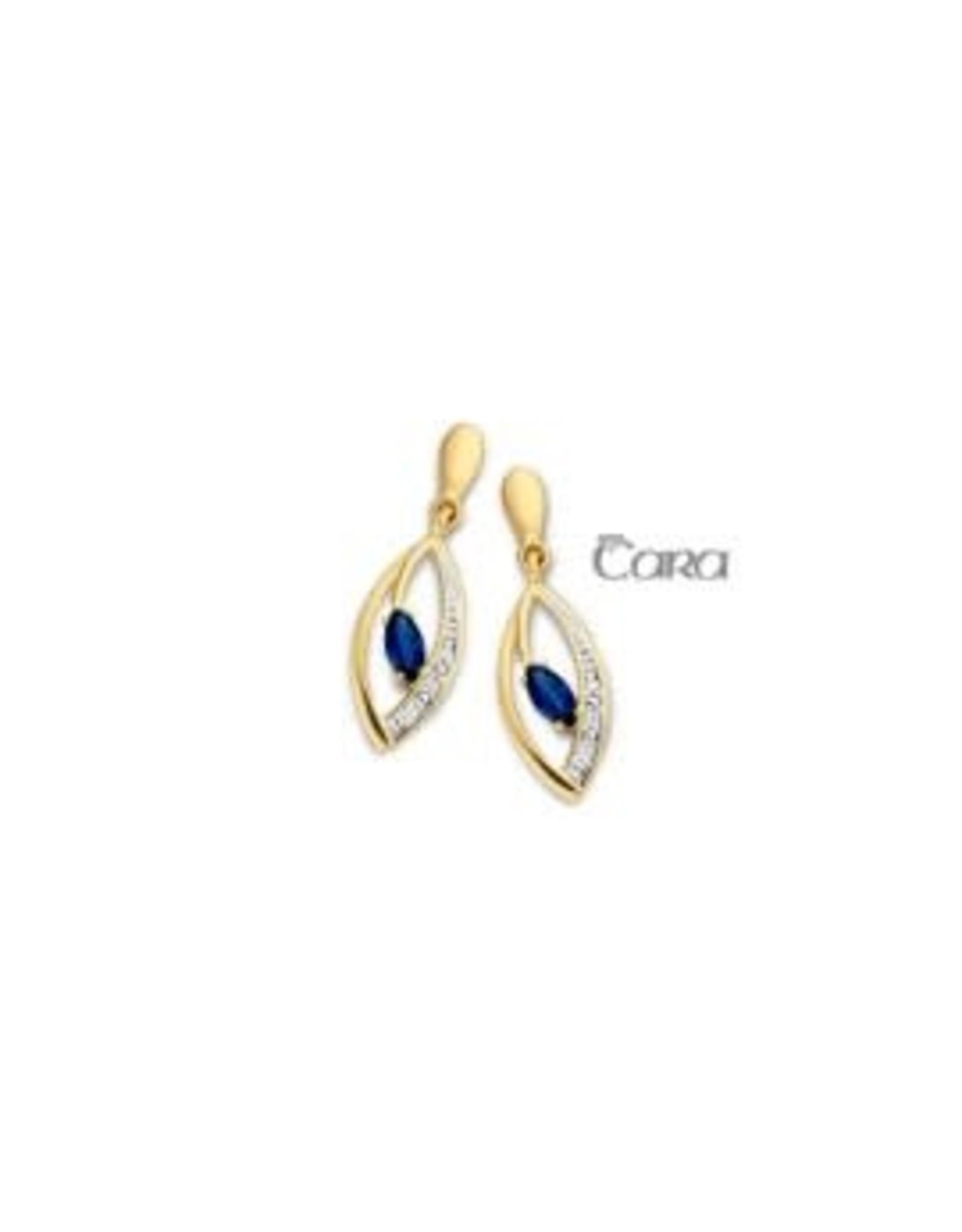 Oorbellen Geel Goud 18kt CA012 Blauwe Saffier Briljant