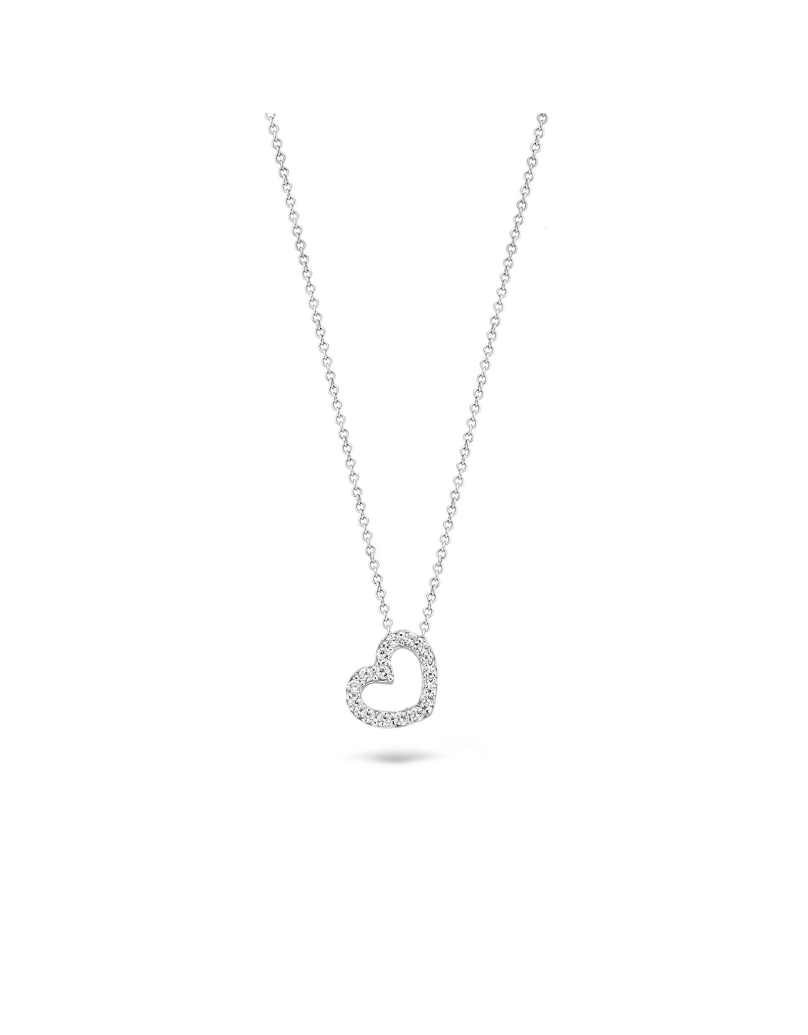 Blush Halsketting Hartje Wit Goud 14kt 3072WZI Zirconium