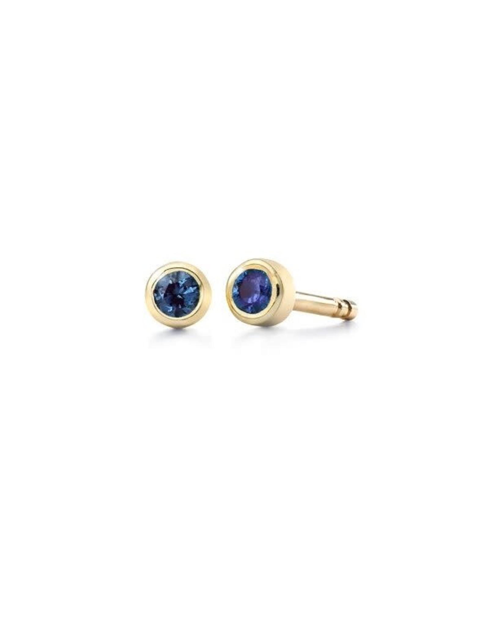 Miss Spring Oorbellen Button Geel Goud 18kt MSO024GG-BS Blauw Saffier