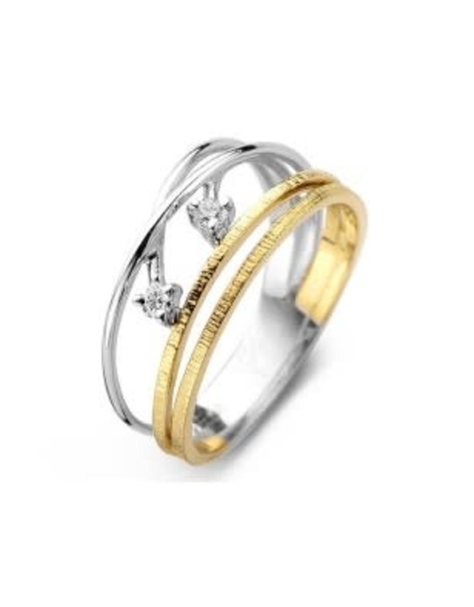 Ring Bicolor Wit/Geel Goud 18kt SR3436BB