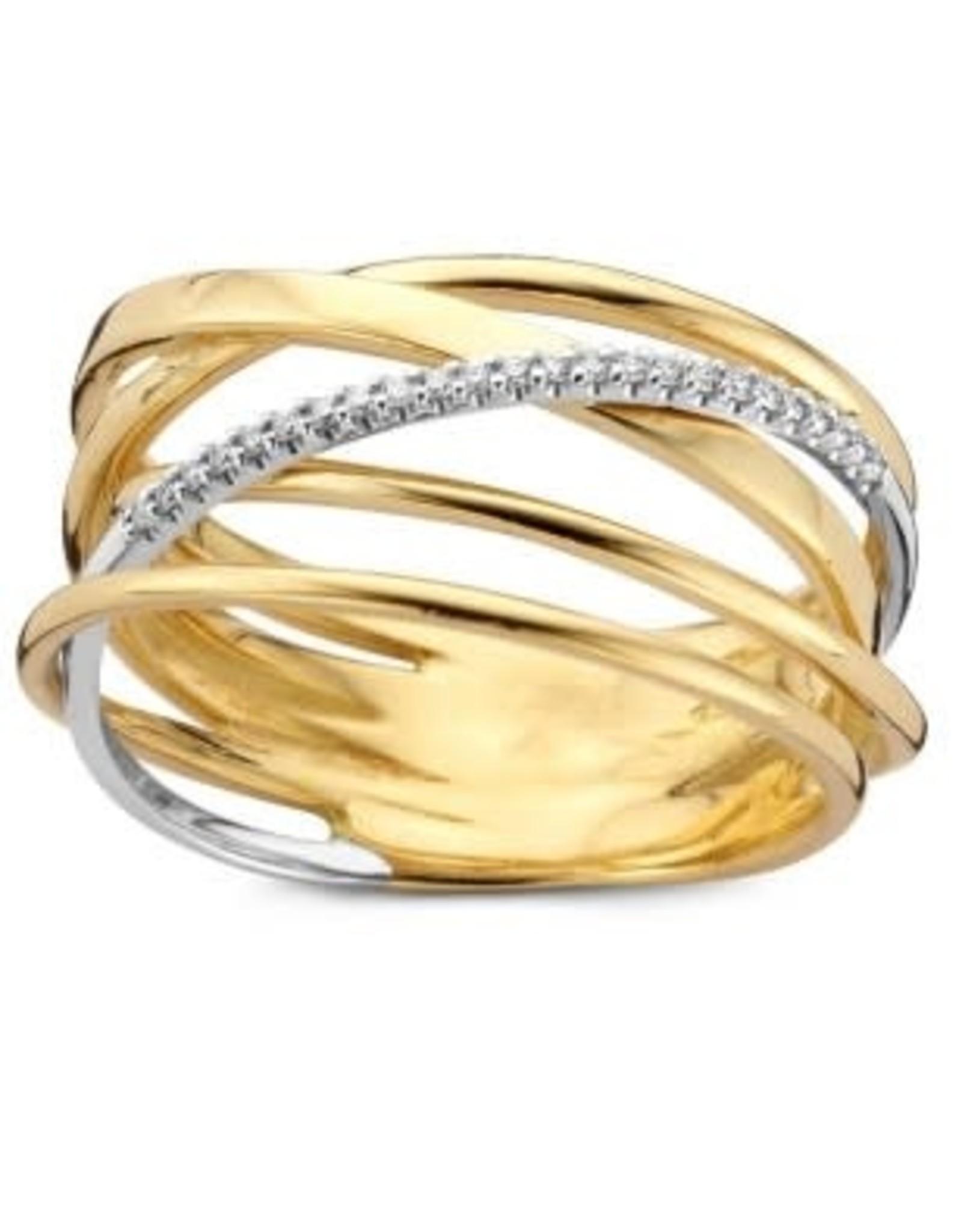 Ring Bicolor Geel/Wit Goud 18kt SR3251BB maat 56