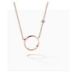 FJF Jewellery Halsketting FJF0010009RWH Zilver Roos Verguld New Icon Necklace Circle Silver 925 Gold Plated