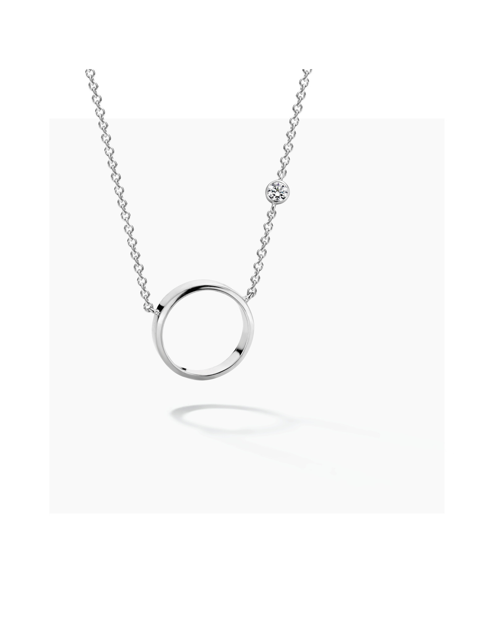 FJF Jewellery Halsketting FJF0010009SWH Zilver New Icon Necklace Circle Silver 925