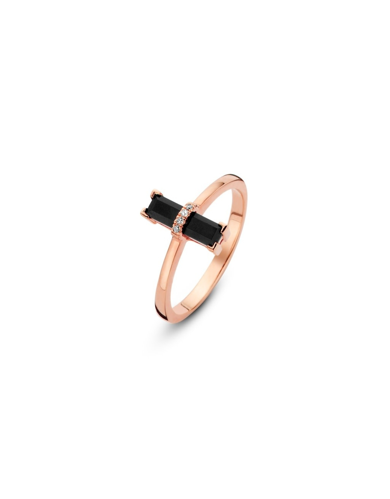 Diamanti Per Tutti Dark Secret Ring zwarte onyx- zilver goudkleurig maat 54