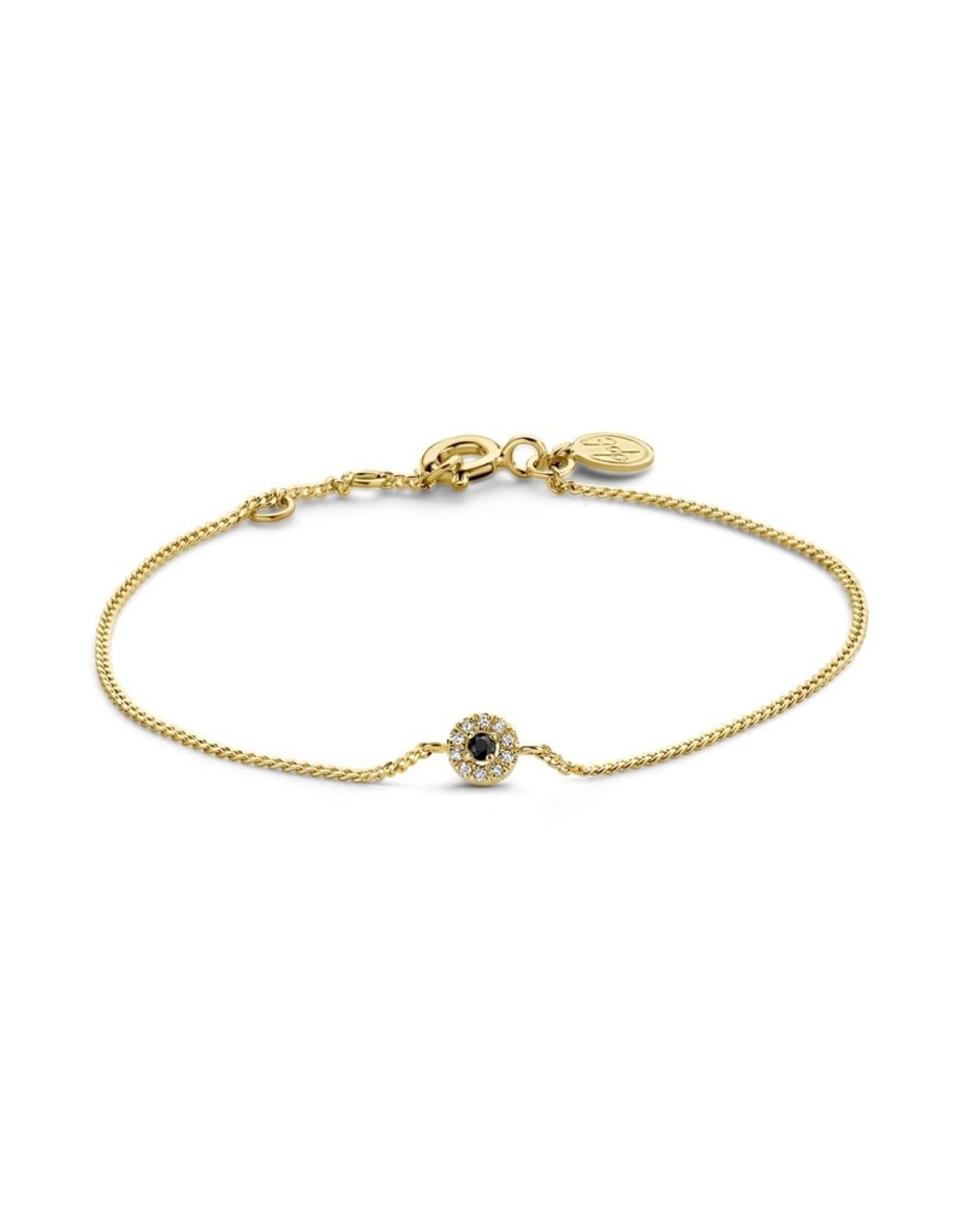 Diamanti Per Tutti Black Halo Bracelet - Zilver Goudkleurig Briljant