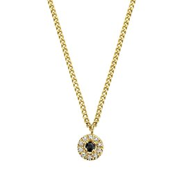 Diamanti Per Tutti Black Halo Necklace - Zilver Goudkleurig Briljant