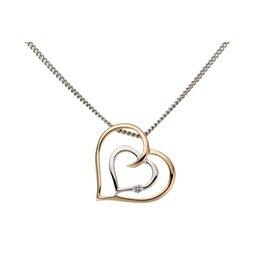 Hanger hart Bicolor Wit/Geel Goud 18kt briljant 0.015ct GH2061BB