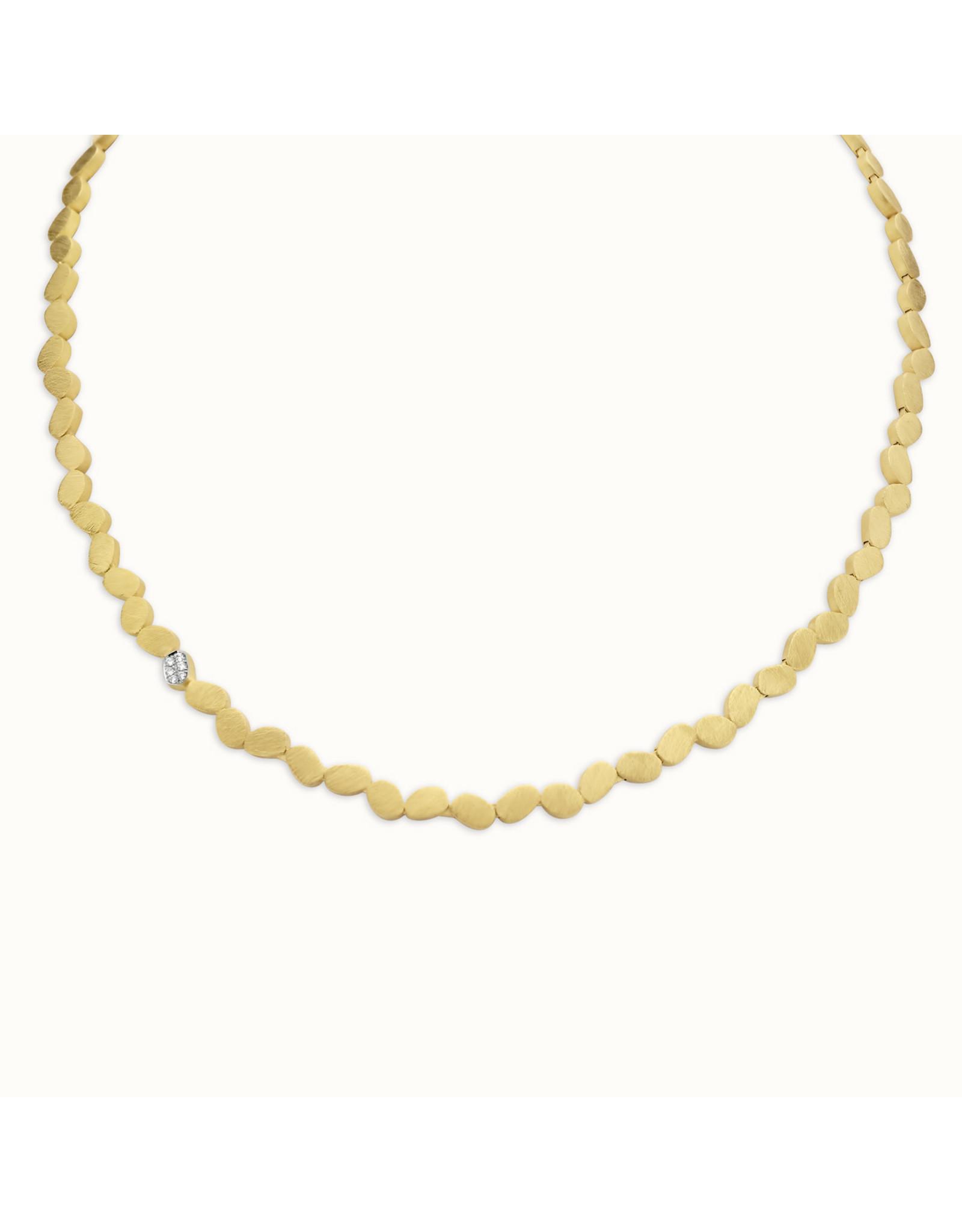 Femme adoree Collier Geel Goud 18kt 03C0301 Diamant 6pt