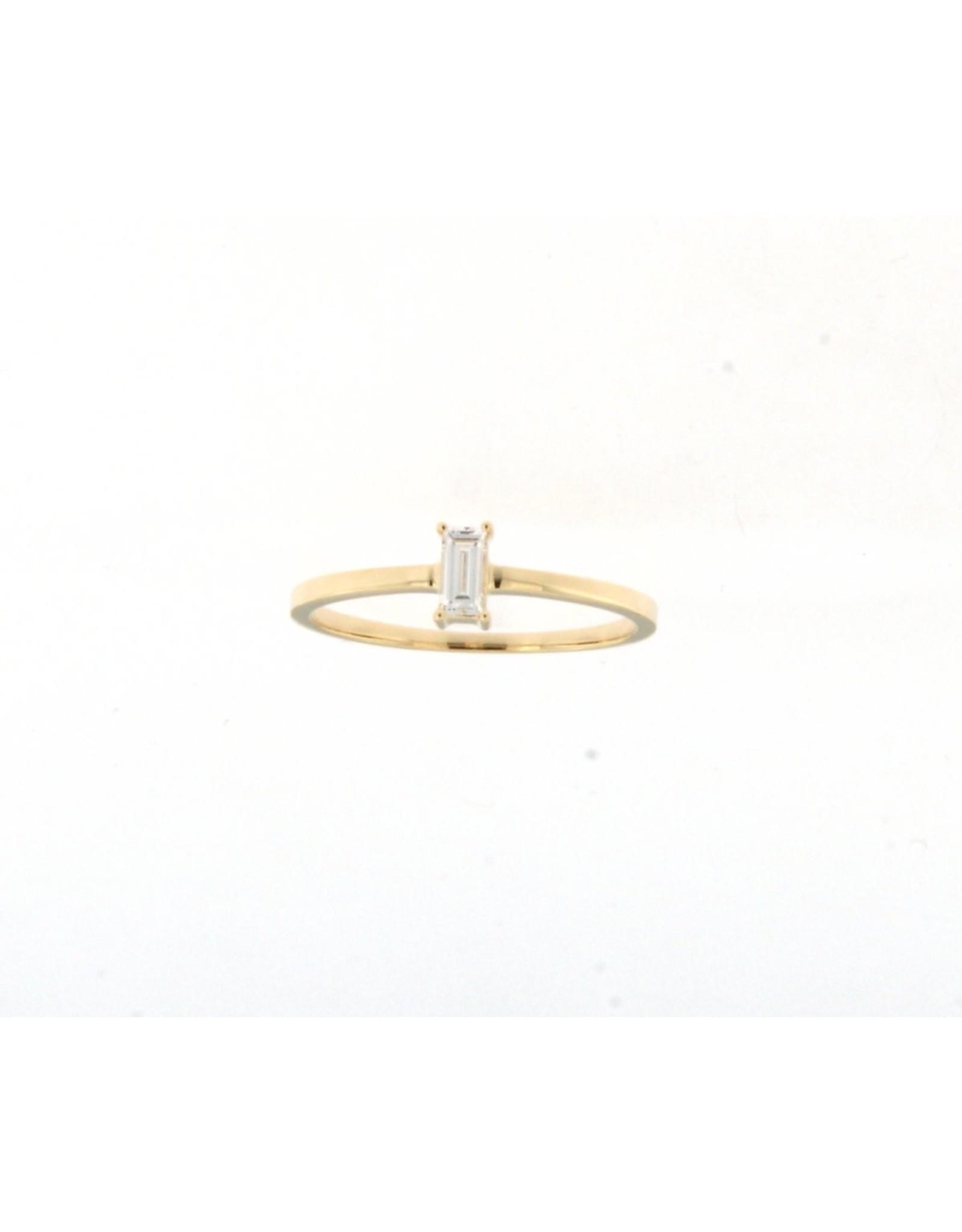 Ring Solitaire Geel Goud 18kt baguette diamant 063815/A/14