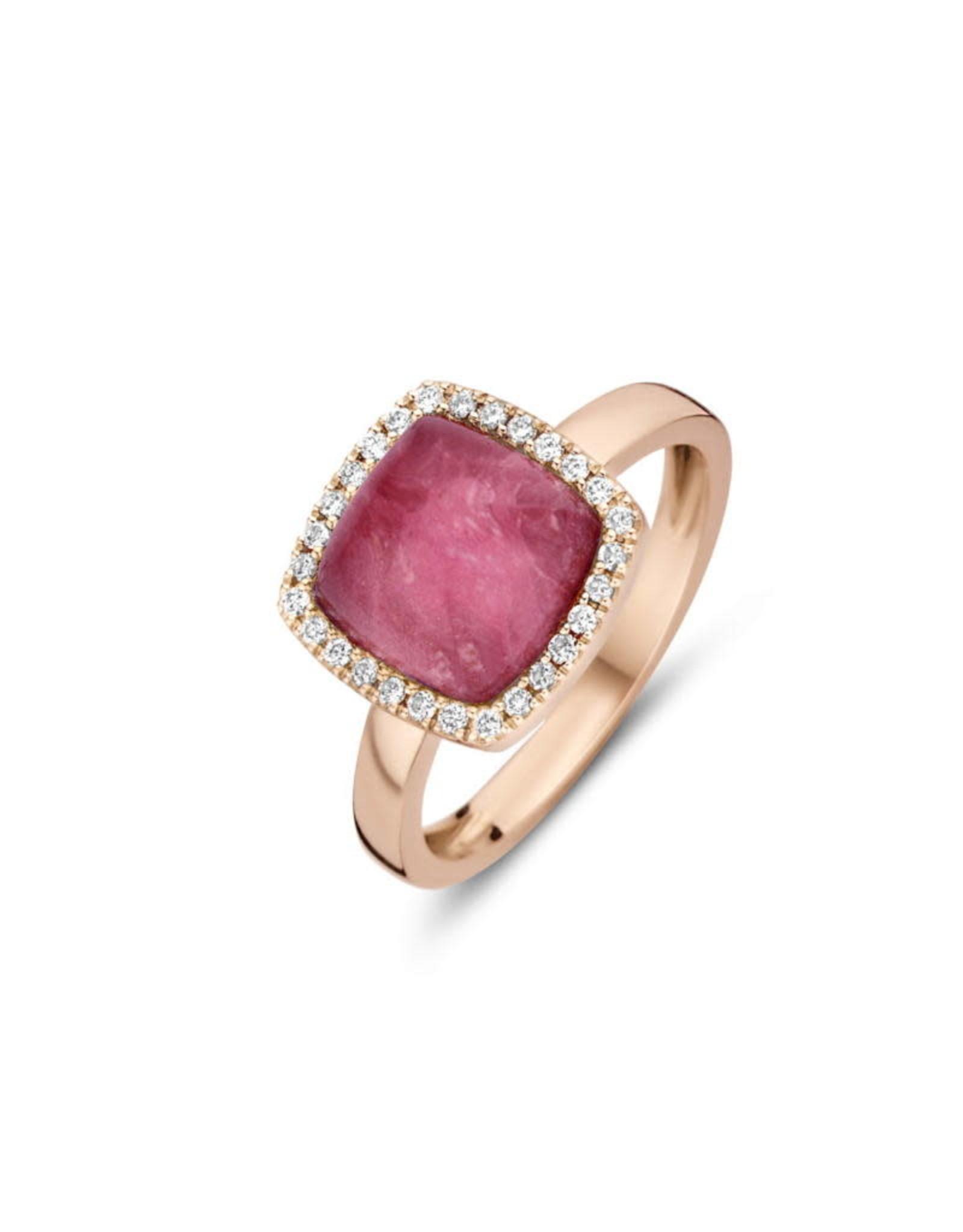 One More Ring One More Roos Goud 18kt 062250/NR-54 Bergkristal op Robijn Briljant
