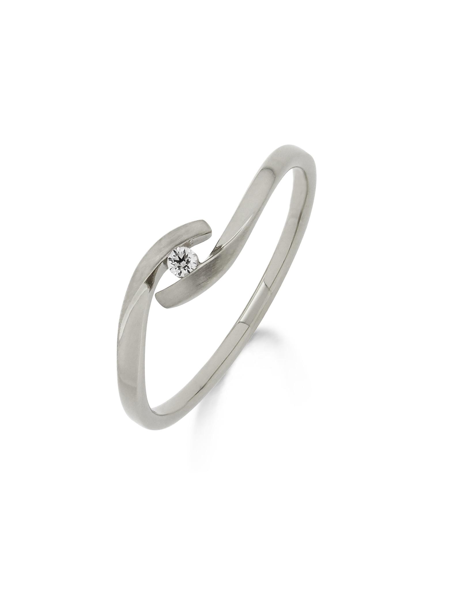 Ring Solitaire Wit Goud 18kt 91GT20/A-54 briljant 0.030 ct