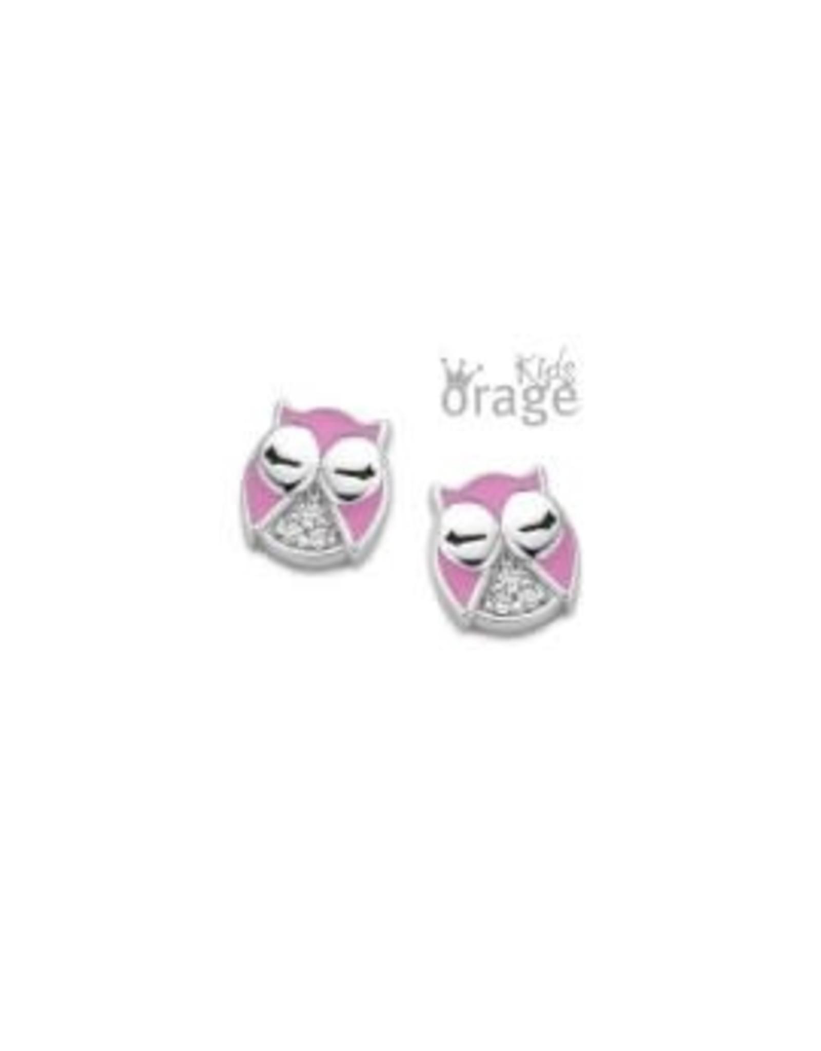 Orage Kids Oorbellen Orage Kids K2014 Uil Roze Zilver