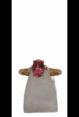 Ring Roos Goud 18kt Roze Toermalijn Briljant