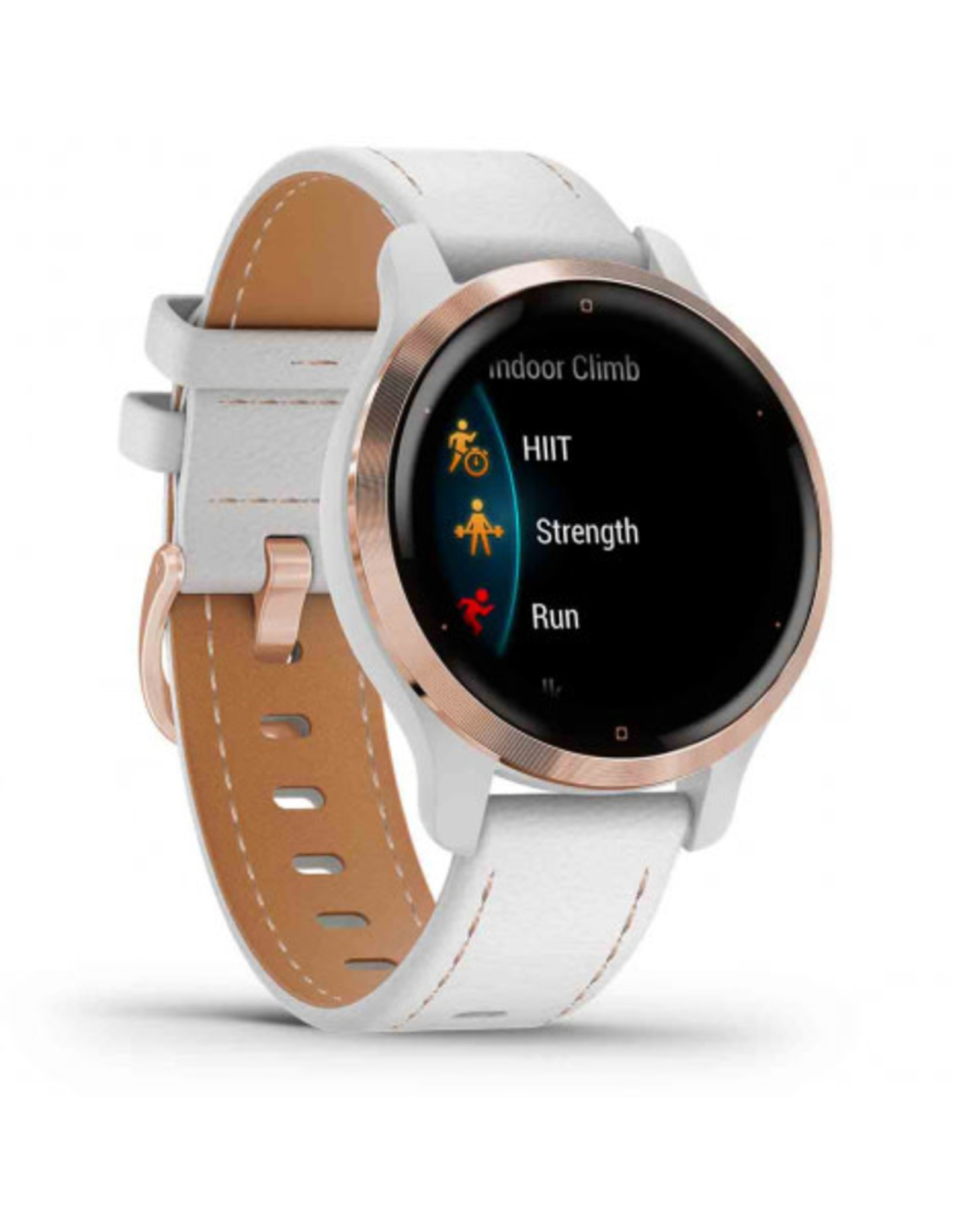 Garmin Garmin 010-02429-23 Venu 2S Rose Gold Stainless Steel Bezel with White Case and Leather Band