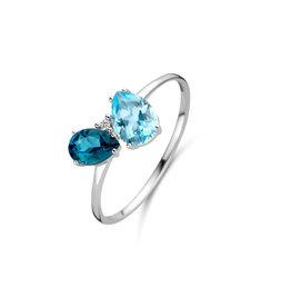 Ring Wit Goud 18kt 063013/TA-53 Topaas Blue Sky en London Blue Briljant