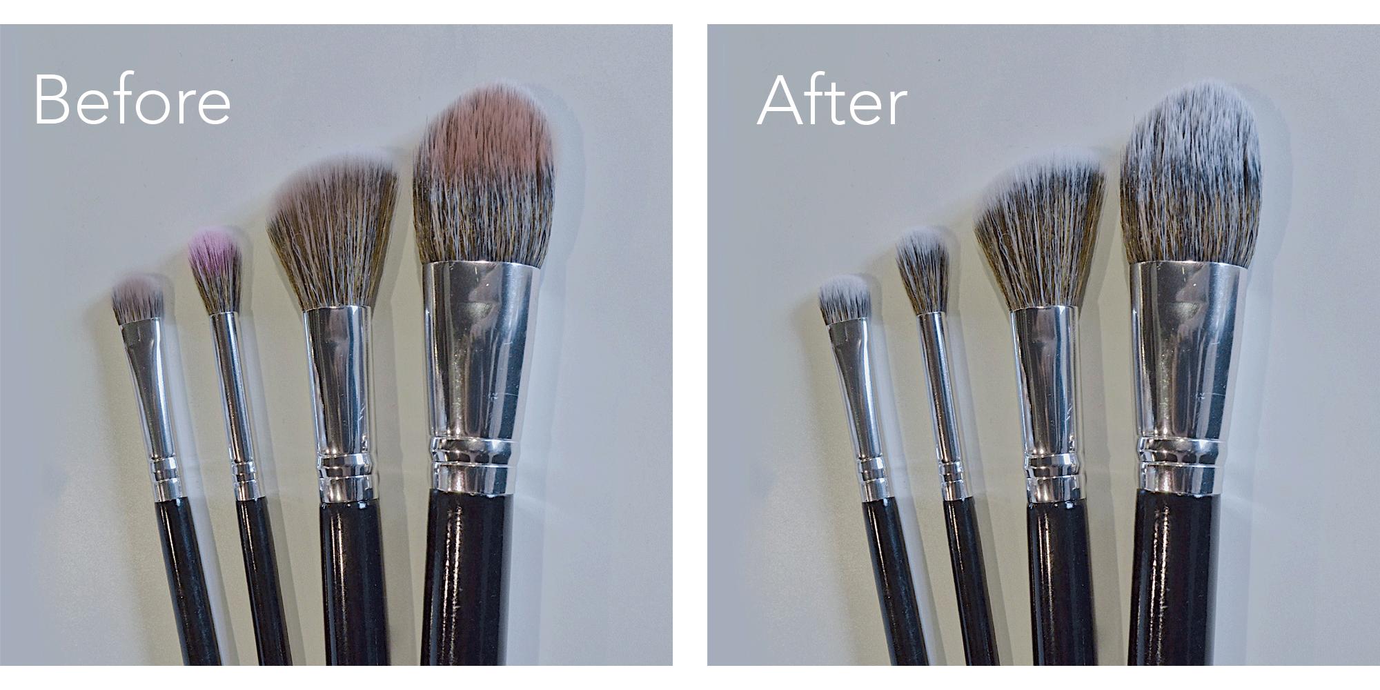 Make-up kwasten schoonmaken before en after