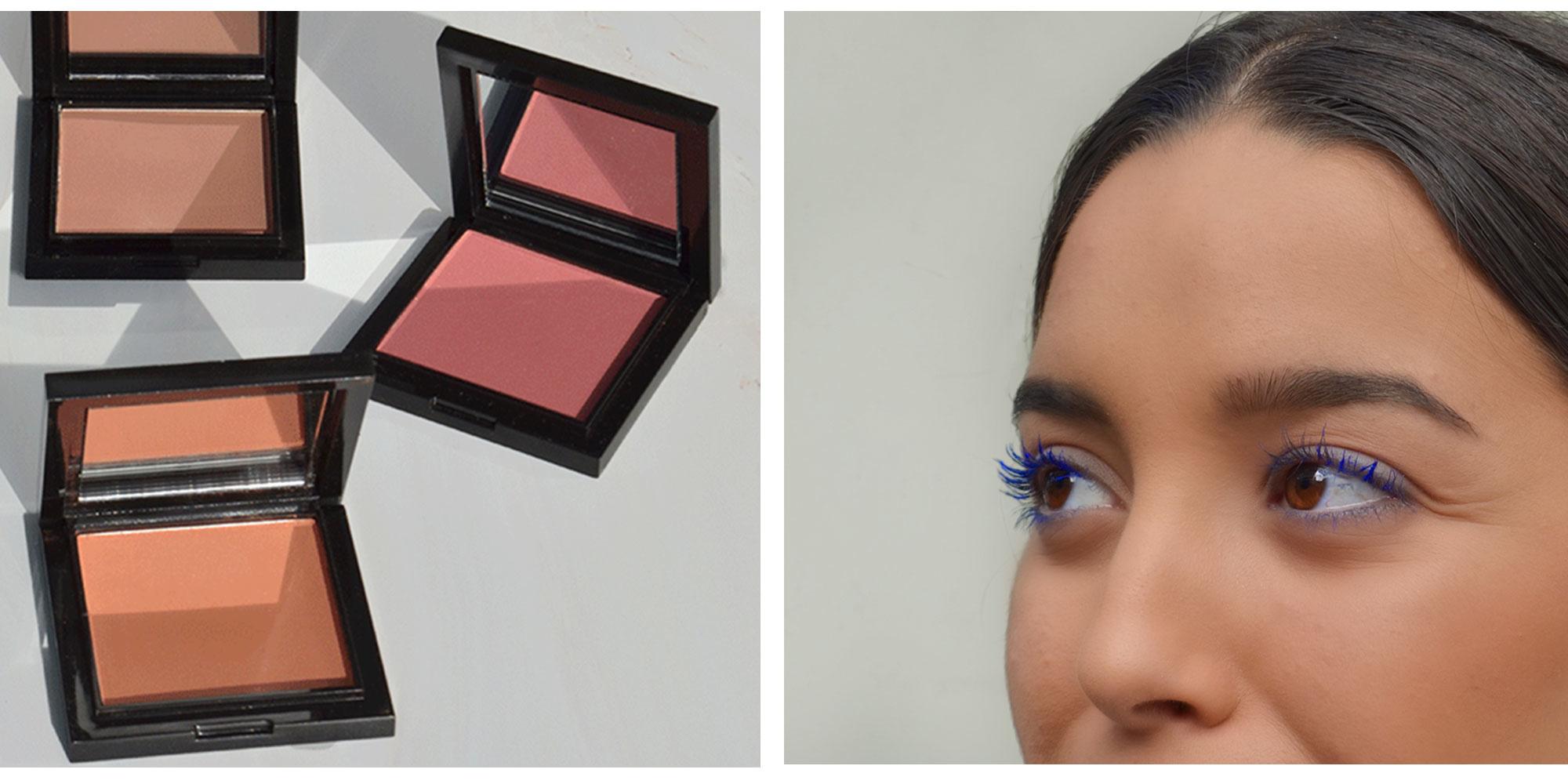 Blauwe mascara en blushes gekleurde make-up look