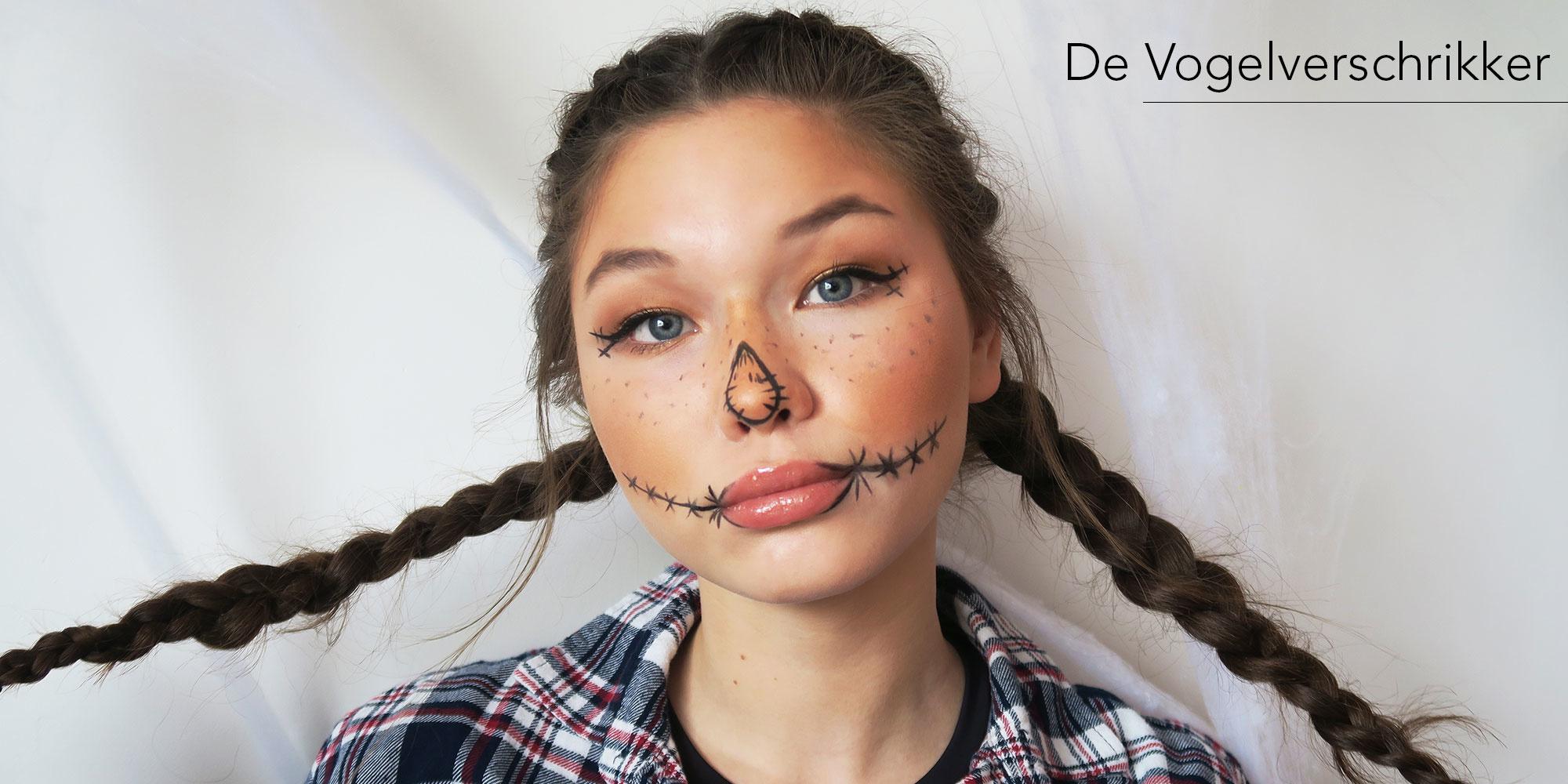Vogelverschrikker scarecrow halloween make-up look