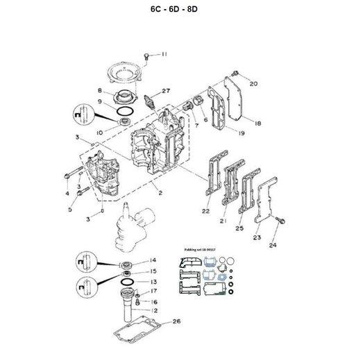 Yamaha + Mariner 6C / 8C - 6M / 8M - 6D / 8D - Blockteile