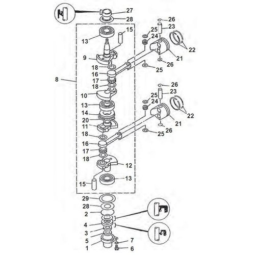 Yamaha + Mariner 9,9 / 15 PS 2-Takt Kurbelwellenteile