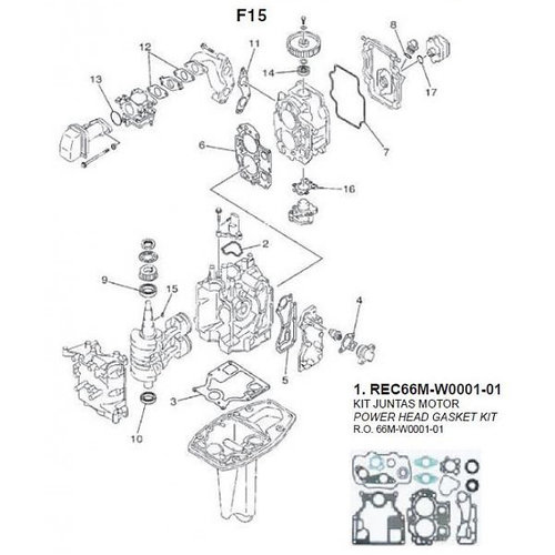 Yamaha / Mercury / Mariner F9.9 / F15 (99-07) Blockteile (2)