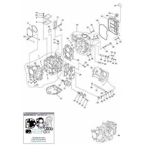 Yamaha / Mercury / Mariner F20 / F25 2-Zyl. 4-Takt Blockteile (1)
