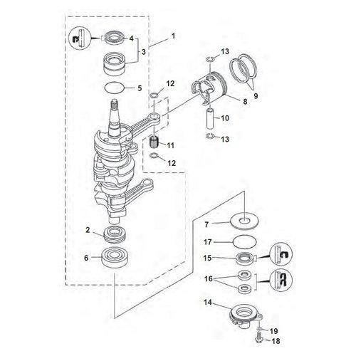 Yamaha 25/30 PS 2-Takt 3-Zyl. 86+ Kurbelwellenteile