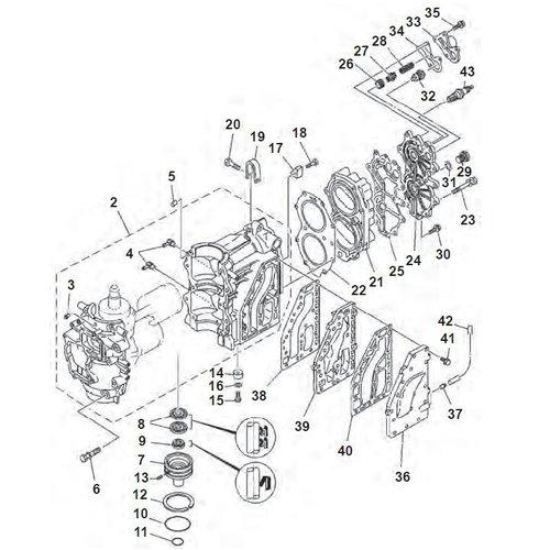 Yamaha / Mariner 40 PS 2-Zylinder 2-Takt Blockteile
